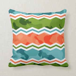 Blue Green Orange Throw Pillows : Orange Camo Pillows - Decorative & Throw Pillows Zazzle