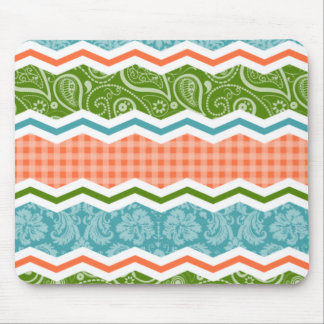 Blue, Green, and Orange Country Patterns Mouse Pad
