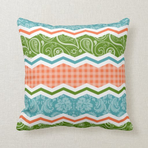 Blue, Green, and Orange Country Patterns Pillows
