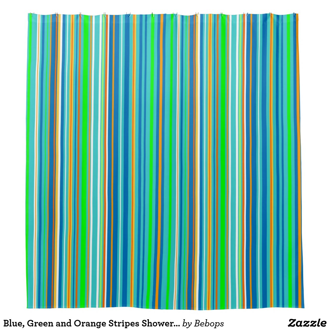 Blue, Green and Orange Stripes Shower Curtain