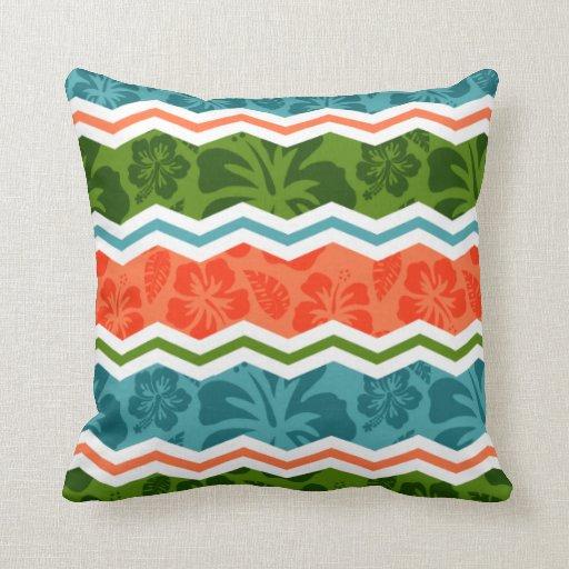 Blue Green Orange Throw Pillows : Blue, Green, and Orange Tropical Pattern Throw Pillows Zazzle