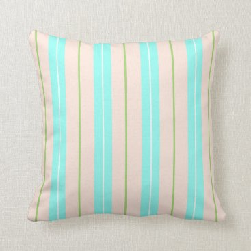 Beach Themed Blue Green And Peach Beach Stripes Throw Pillow