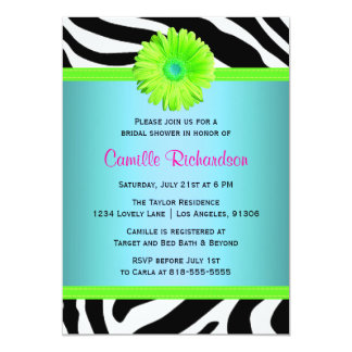 Blue, Green and Pink Bridal Shower Invitation