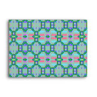 Blue, Green and Pink Pattern Envelope
