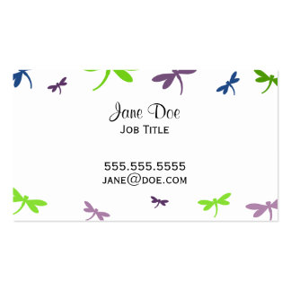 Blue, Green, and Purple Dragonflies Business Card
