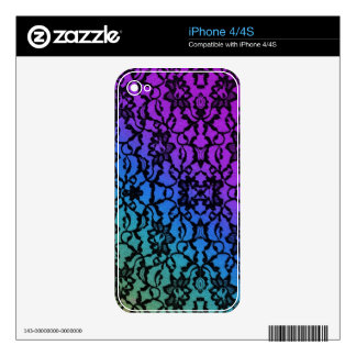 Blue Green and Purple with Black Lace Skin iPhone 4 Skin