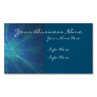 Blue, Green, And Turquoise Fractal Magnetic Business Card