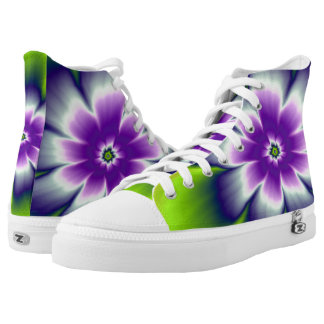 Blue Green and Violet Daisy Flower High-Top Sneakers