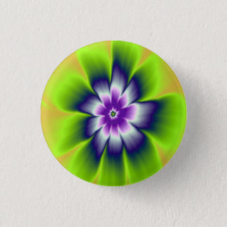 Blue Green and Violet Daisy Flower Pinback Button
