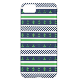Blue, Green and White Anchors Pattern iPhone 5C Cover