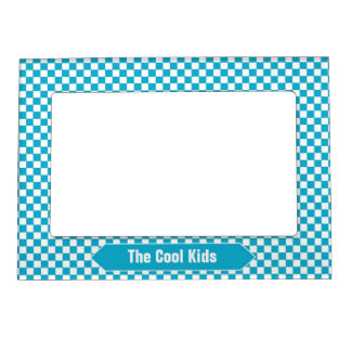 Blue-Green and White Checkered Custom Photo Magnetic Picture Frame