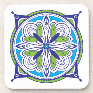 Blue, Green and White Coaster Design