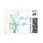 Blue, Green, and White Floral Thank You Postage