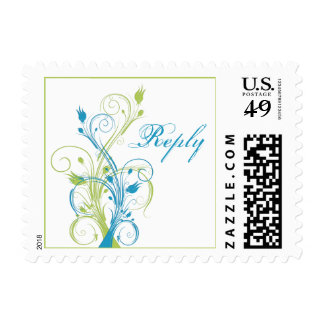 Blue, Green, and White Floral Wedding RSVP Postage