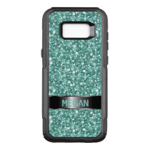 Blue Green And White Glitter OtterBox Commuter Samsung Galaxy S8  Case