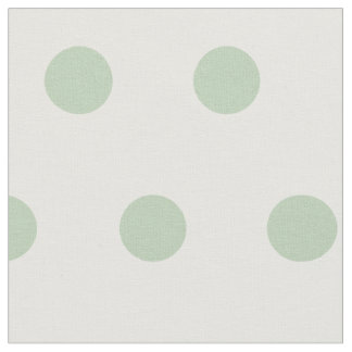 Blue/green and white large polka dots fabric