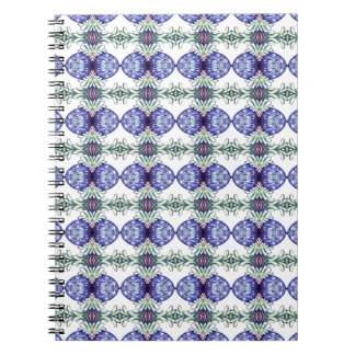 Blue green and white patterned spiral notebook