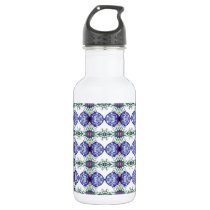 Blue green and white patterned stainless steel water bottle