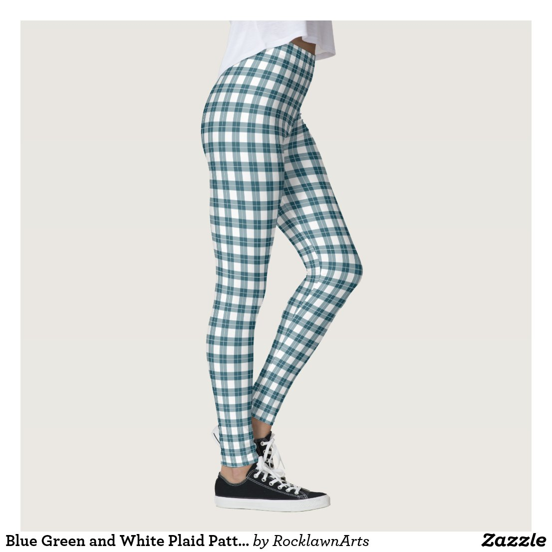 Blue Green and White Plaid Pattern Leggings