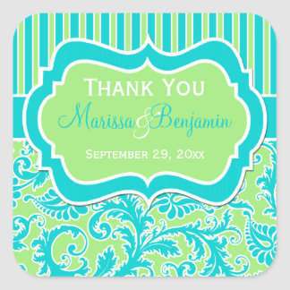 Blue, Green, and White Striped Damask Sticker