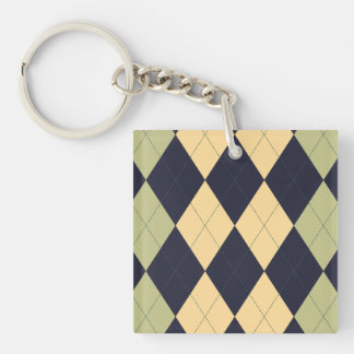Blue, Green and Yellow Argyle Key Chain