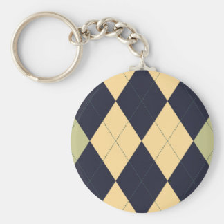 Blue, Green and Yellow Argyle Keychain