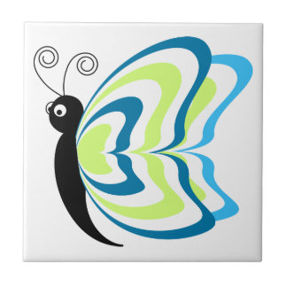 Blue green animation butterfly illustration ceramic tile