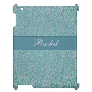 blue green aqua dark metallic lace iPad cover