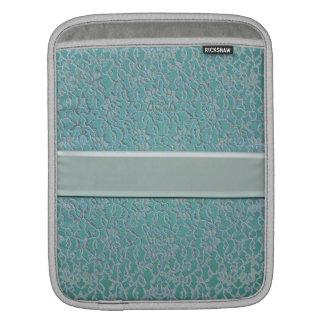 blue green aqua dark metallic lace iPad sleeve