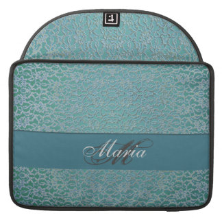 blue green aqua dark metallic lace sleeve for MacBooks