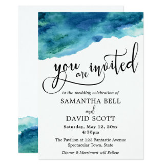 Blue Green Aqua Watercolor Modern Wedding 2 Invitation