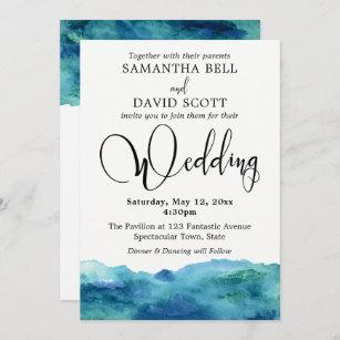 Blue  Ocean Painted Wedding Invitation Info Card #140 RSVP Watercolor Wedding Invitation DIY Option Available Invitation