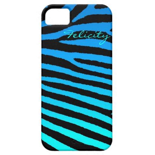 Blue green aqua zebra stripes iphone 5 case