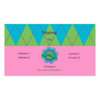 Blue & Green Argyle Double-Sided Standard Business Cards (Pack Of 100)