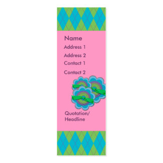 Blue & Green Argyle Double-Sided Mini Business Cards (Pack Of 20)