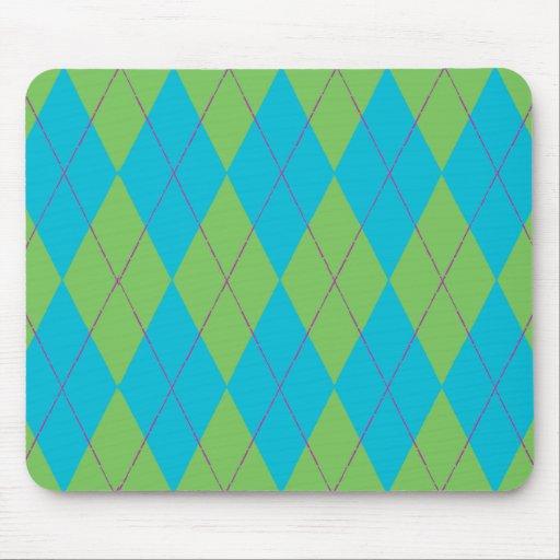Blue & Green Argyle Mouse Pads