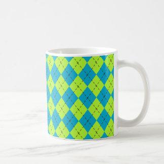 Blue Green Argyle Mug