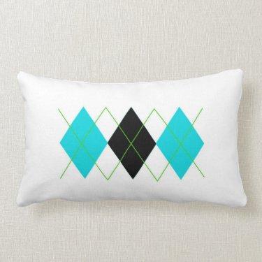 Blue & Green Argyle Pillow