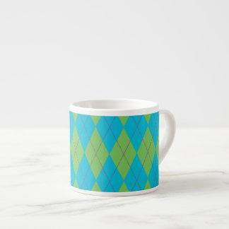 Blue & Green Argyle 6 Oz Ceramic Espresso Cup