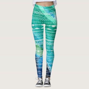 Aztec Themed Blue Green Arrows Aztec Geometric Watercolor Leggings