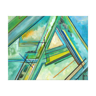 Blue Green Art Street and Roads Abstract Map Décor Gallery Wrapped Canvas