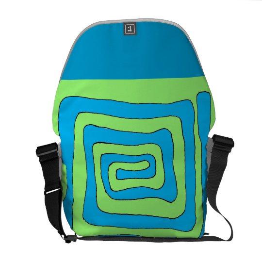 Blue Green Aztec Messenger Bag