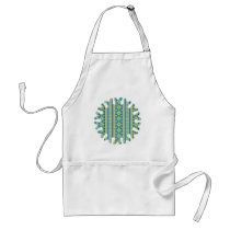 Blue, Green Aztec Pattern Adult Apron
