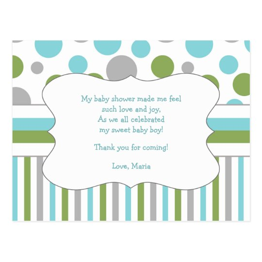 Sample Thank You Notes For Baby Shower Gifts: Blue Green Baby Shower Thank You Note W/poem 3471 Postcard