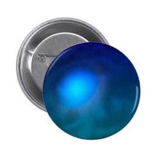 Blue green ball graphic metal reflection swirl pinback button