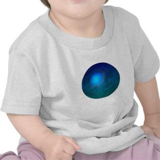 Blue green ball graphic metal reflection swirl tee shirts