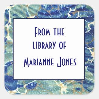 Blue & Green Batik Marble Book Name Plate Square Sticker