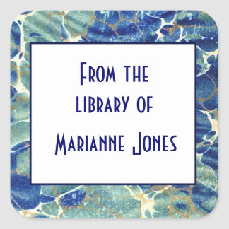Blue & Green Batik Marble Book Name Plate Square Sticker