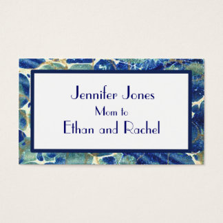 Blue & Green Batik Marble Mommy Calling Card