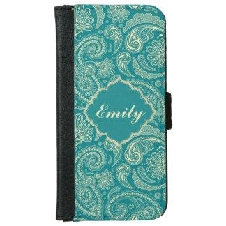 Blue-Green & Beige Creme Vintage Paisley Monogram iPhone 6 Wallet Case